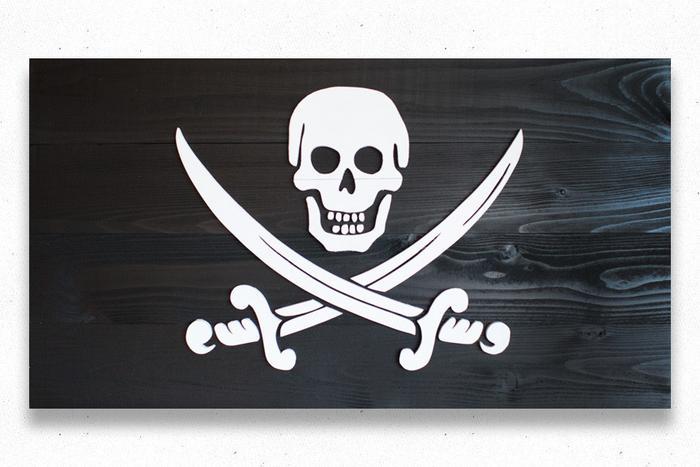 Calico Jack Jolly Roger Wood Flag