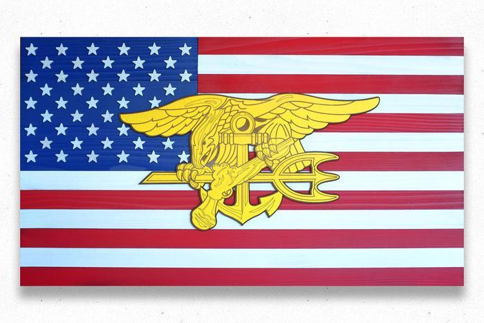 Navy Seals USA Wood Flag