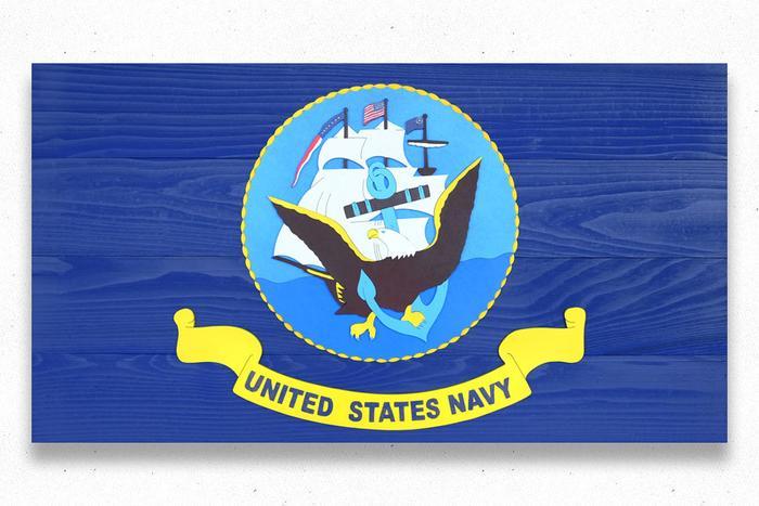 US Navy Wood Flag