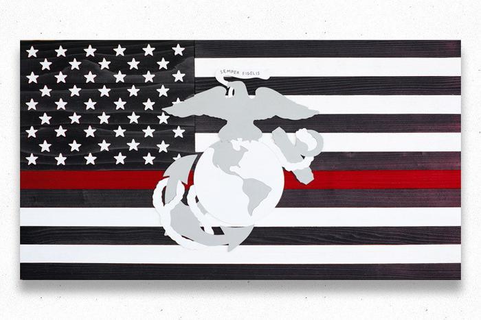 Thin Red Line Marines Wood Flag