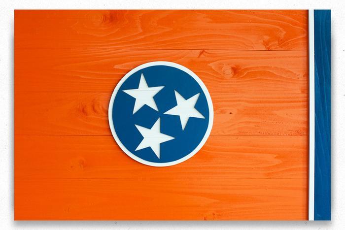 Tennessee Orange Wood Flag
