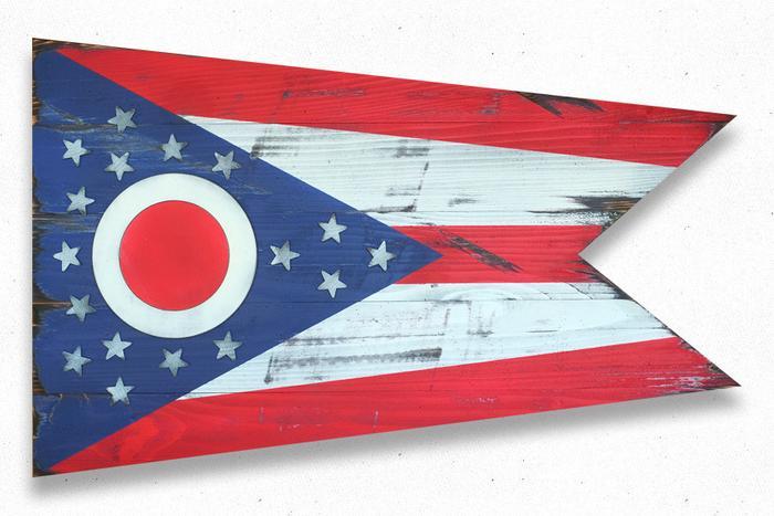Ohio Vintage Wood Flag