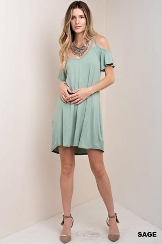 Double Binding Cold Shoulder Dress