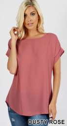 Dusty Rose Short Cuff Sleeve Boat Neck Top