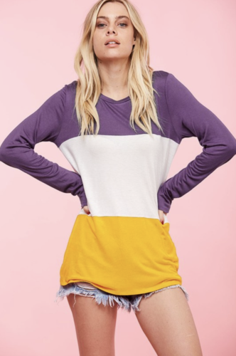 Purple White And Gold Block Long Sleeve Top *Preorder Ships Sept 14th