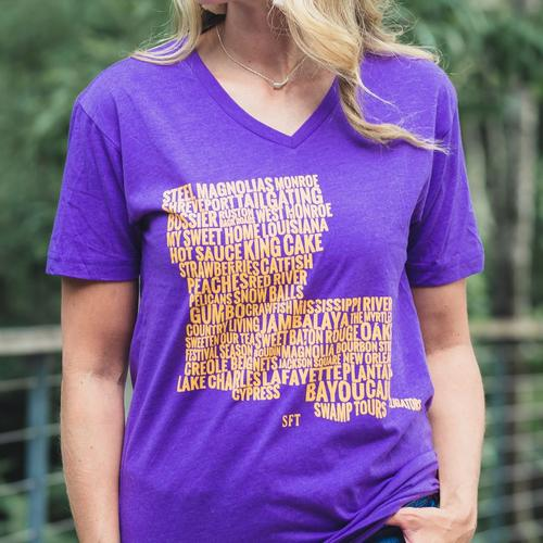 Purple And Gold Louisiana State Pride T Shirt Top