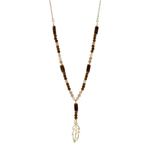 Feather Natural Bead Necklace
