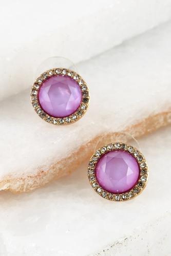 Purple Rhinestone Stud Earring