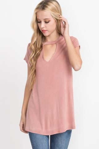Washed Jersey Dusty Pink Cutout Top