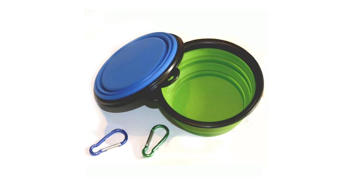 Collapsible Food & Water Travel Bowls (Set of 2, Green & Blue)