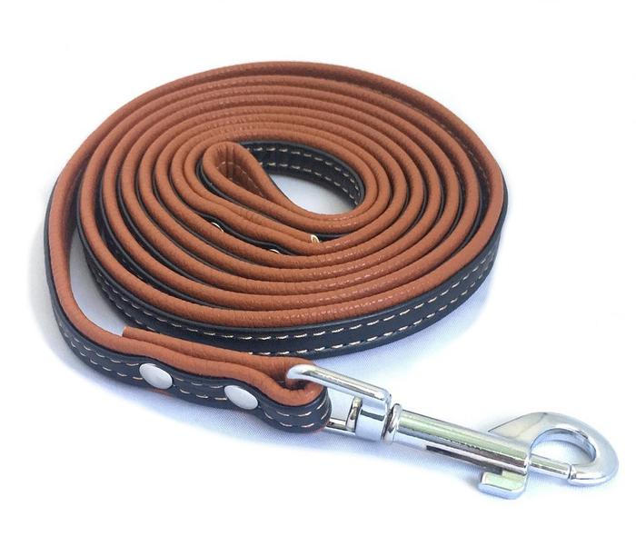 PU-Leather Dog Leash for Medium and Small Pets (Brown/Black)