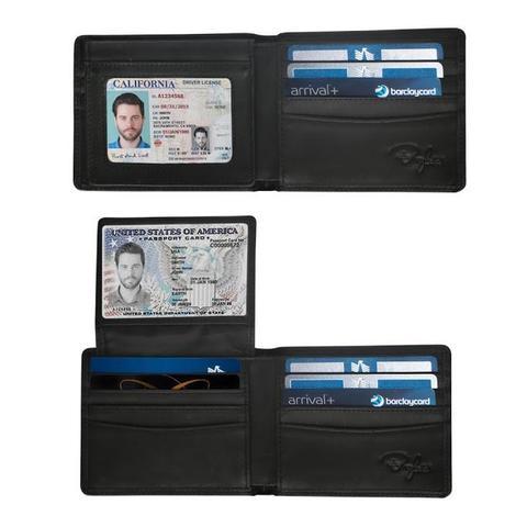 Top Flip 2 ID Window RFID Wallet - Charcoal Black Distressed Leather