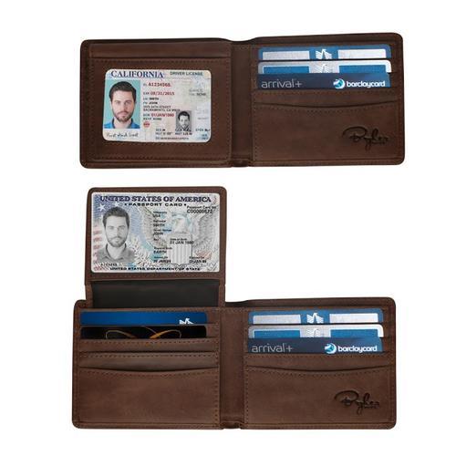 Top Flip 2 ID Window RFID Wallet - Texas Brown Distressed Leather