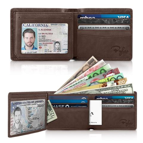 Side Flip 2 ID Window RFID Wallet - Texas Brown Distressed Leather