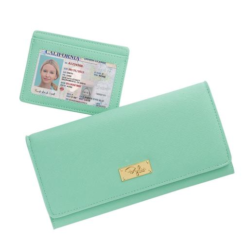 The Krista Bifold Wallet - Mint Crossgrain Leather