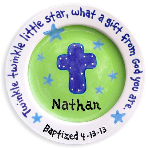 Baptism Boy Custom Ceramic Birth Plate (LWC-23B)