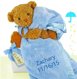 Little Boy Blue Personalized Blanket Set #(BBC93)