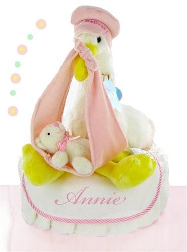 Stork Nest Diaper Cake - Pink (#BBC130)
