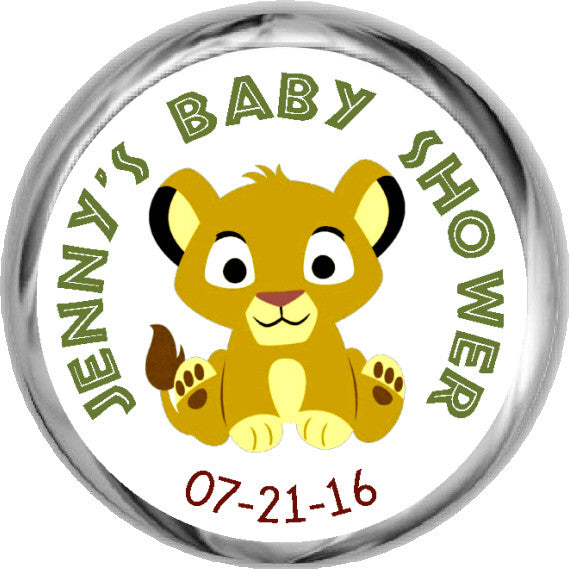 Baby Lion King Stickers - Personalized Candy KISSES (#HKS19)