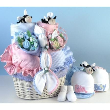 Little Busy Bees Twins Baby Basket (#BGC109)