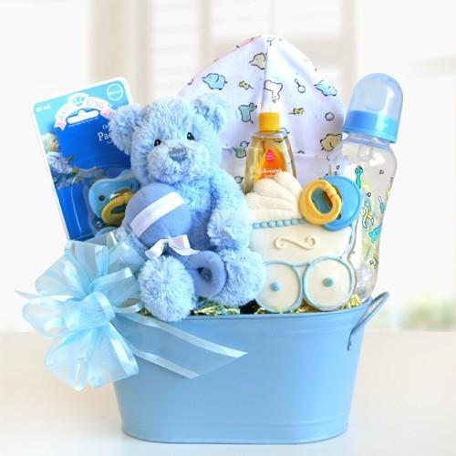 Cuddly Welcome Gift Basket- Blue (#GC11)
