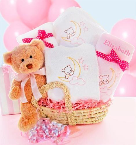 Moon & Stars Gift Basket - Pink (#BBC3)