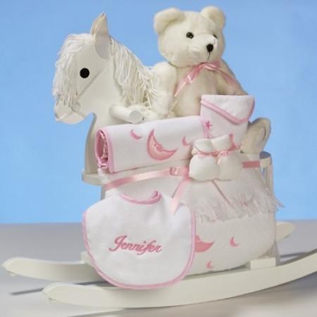 Baby Girl's Personalized Rocking Horse Gift Set (#BGC14)