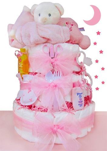 Sleepy Bear Diaper Cake - Girl (#BBC172)
