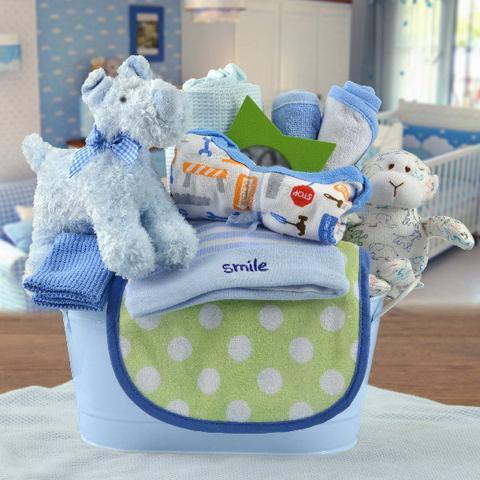Welcome Home Baby Boy Starter Gift Basket (#CBB25)