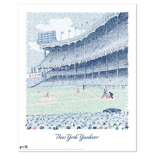 "Yankee Stadium - All Time Roster Word Art Print - 16"" x 20"""