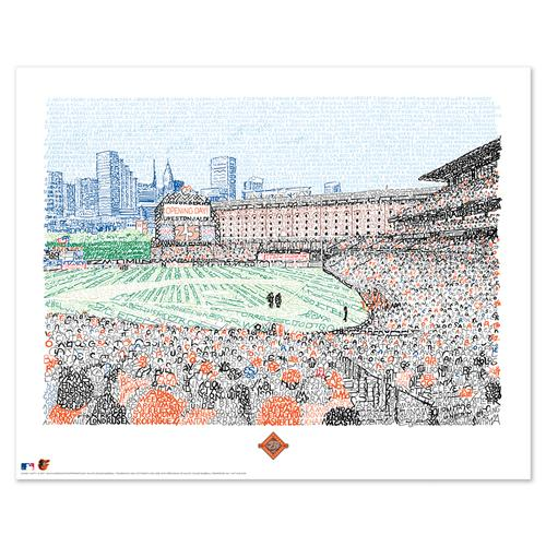 """Camden Yards - Orioles All Time Roster Word Art Print - 16"""" x 20"""""""