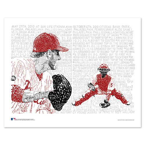 "Roy Halladay - No Hitter & Perfect Game Word Art Print - 16"" x 20"""
