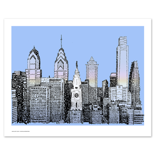"Philadelphia Skyline Word Art Print - 16"" x 20"""