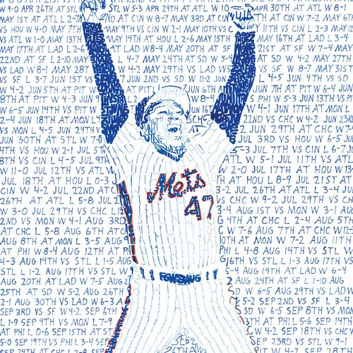 """1986 New York Mets Road to the World Series Word Art Print - 16"""" x 20"""""""