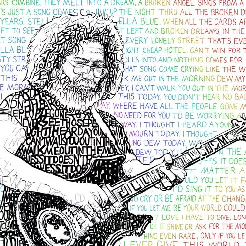 "Jerry Garcia Word Art Print - 16"" x 20"""