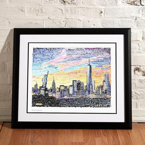 "New York City Skyline Word Art Print - 16"" x 20"""