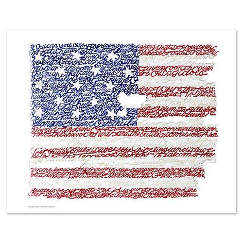 "American Flag - National Anthem Word Art Print - 16"" x 20"""