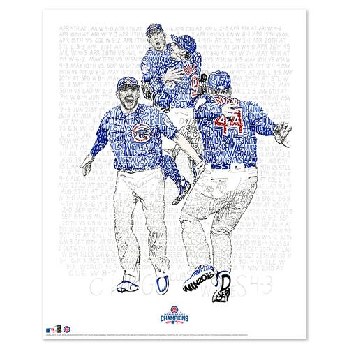 "2016 Chicago Cubs Road to the World Series Word Art Print - 16"" x 20"""