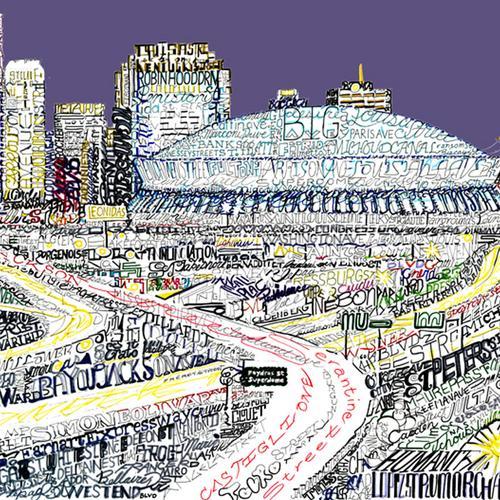 "New Orleans Skyline Word Art Print - 16"" x 20"""