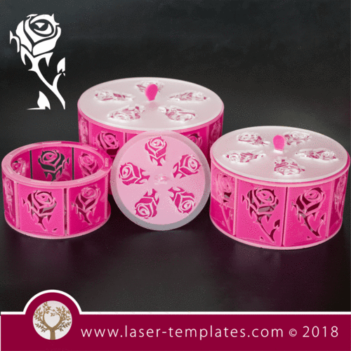3mm Round Box with Rose detail - set of 3