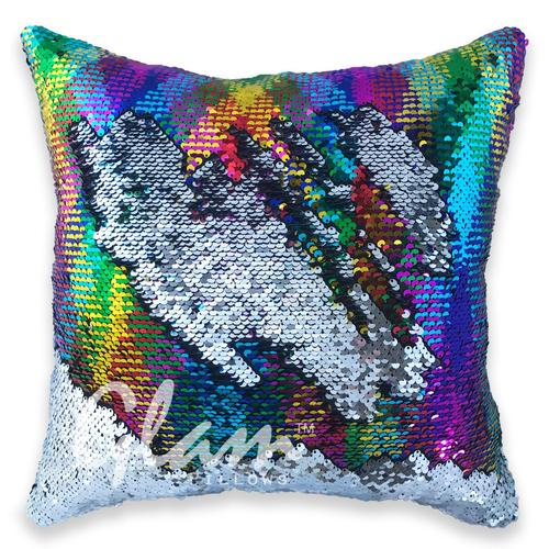 Rainbow & Silver Reversible Sequin Glam Pillow