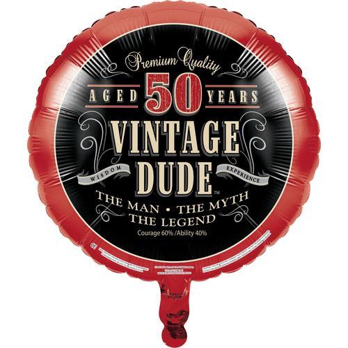 Vintage Dude Metallic Balloon, 50th (10/case)