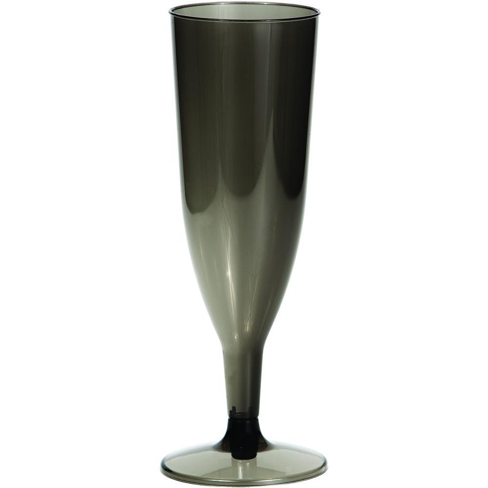 (96ct) Black Transparent 4 Oz Plastic Champagne Glasses