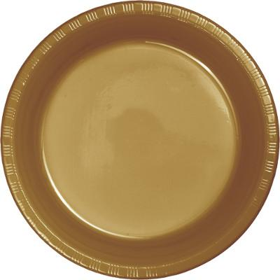 Glittering Gold 7 inch Plastic Plate Lunch (600/case)
