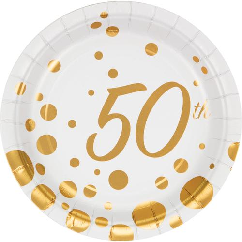 (96ct) Sparkle and Shine Gold 7'' 50th Anniversary Lunch Plate, Foil
