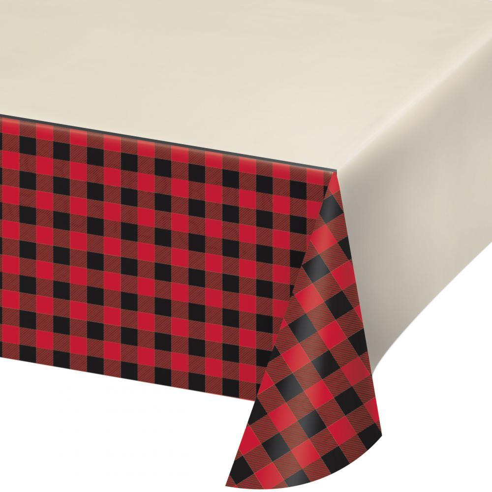 (6ct) Buffalo Plaid Plastic Tablecover All Over Print, 54'' X 102''