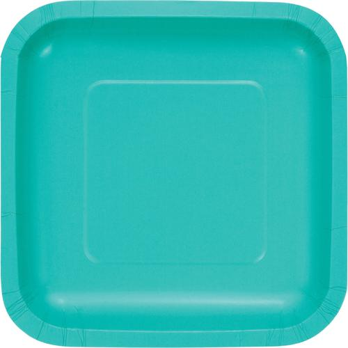 Teal Lagoon Paper Luncheon Plates Square (180/case)