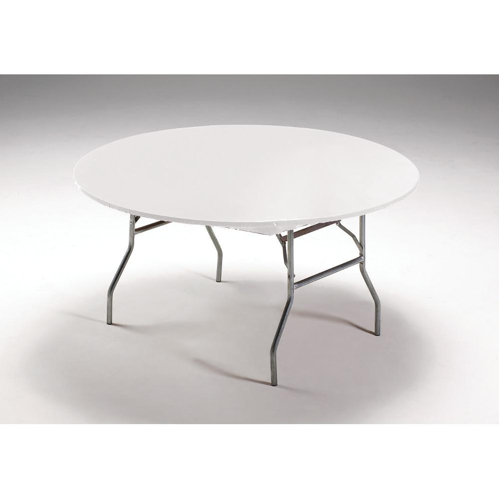 (12ct) White Tablecover 60'' Round