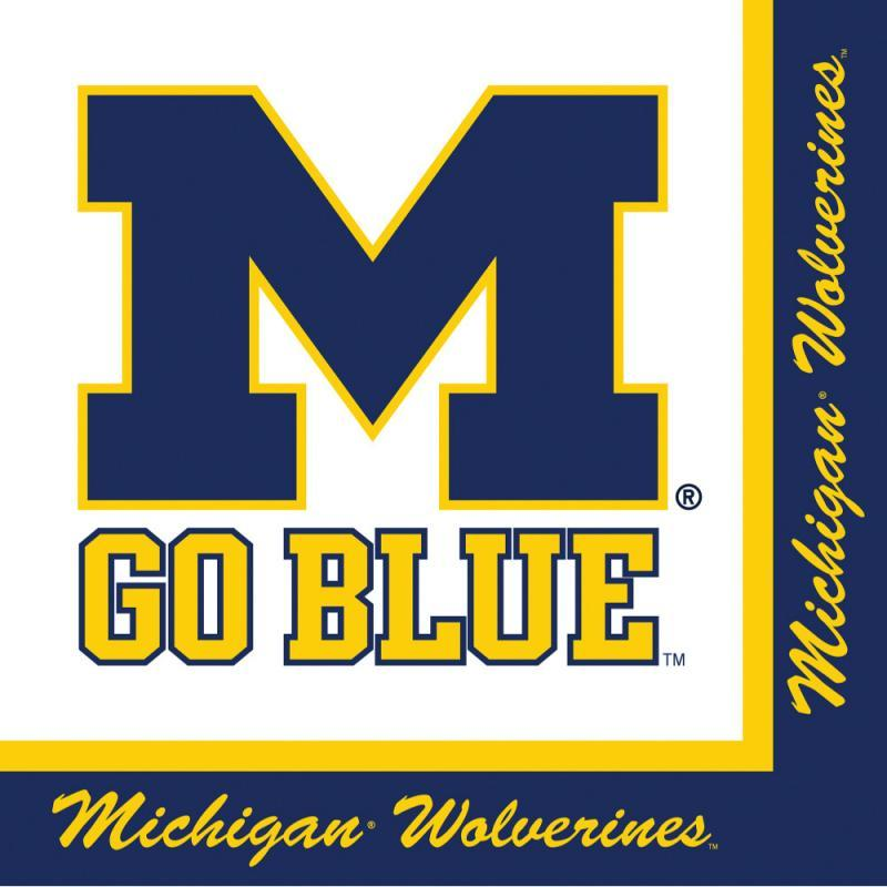 (240ct) Case of University of Michigan Lunch Napkins, 2-Ply