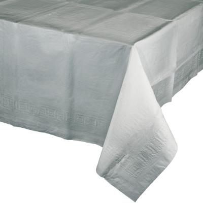 Shimmering Silver Paper Polylined Tablecover 54 inch X 108 inch (6/case)